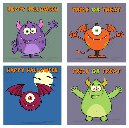 cute cards: Four Cute Monster Greeting Cards.  Collection Set
