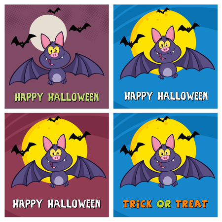 flaying: Happy Vampire Bat Cartoon Character Flying Greeting Cards. Collection Set Stock Photo