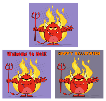infernal: Evil Red Devil Cartoon Character Holding A Pitchfork Greeting Cards. Collection Set