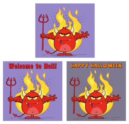 pitchfork: Evil Red Devil Cartoon Character Holding A Pitchfork Greeting Cards. Collection Set