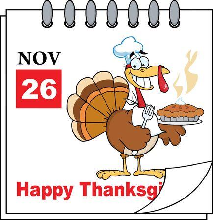 calendar page: Calendar Page Turkey Chef With Pie Stock Photo