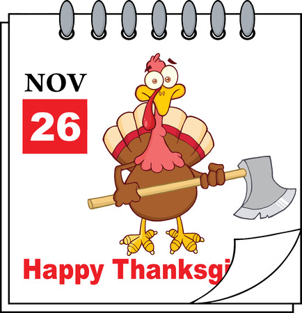 calendar page: Cartoon Calendar Page Turkey With Axe