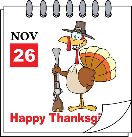 calendar page: Cartoon Calendar Page Turkey With Pilgrim Hat and Musket