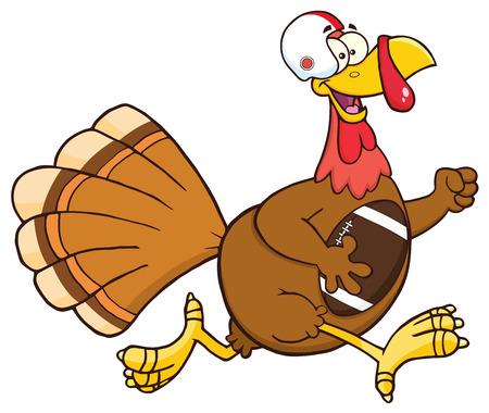 super bowl: Football Turkey Bird Cartoon Character Running In Thanksgiving Super Bowl