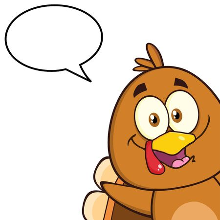 looking in corner: Cute Turkey Bird Character Looking From A Corner With Speech Bubble