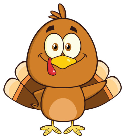 Cute Turkey Bird Cartoon Character Waving Фото со стока