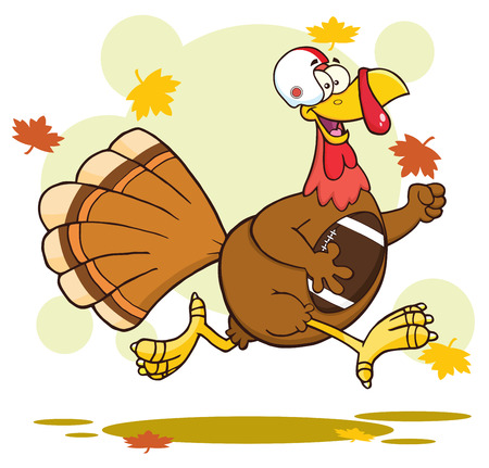 humor: Football Turkey Bird Character Running In Thanksgiving Super Bowl