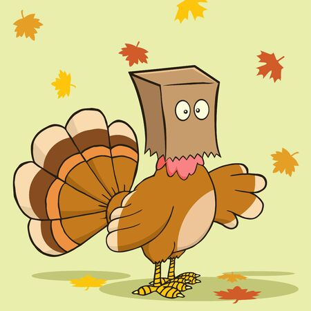 turkey bird: Turkey Bird Cartoon Character Hiding Under A Bag