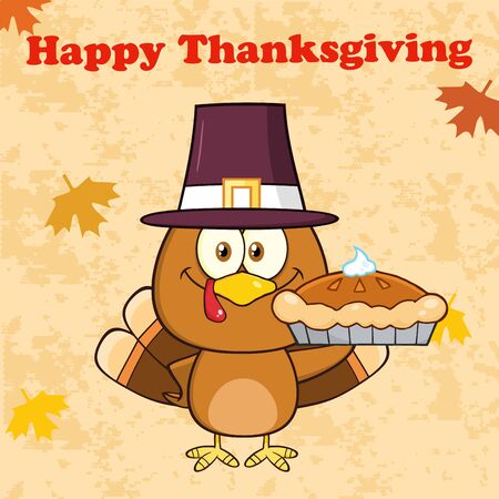 turkey: Happy Thanksgiving Greeting With Cute Pilgrim Turkey Bird Character Waving