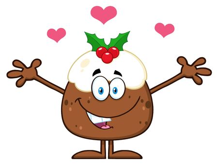 christmas pudding: Smiling Christmas Pudding Cartoon Character With Open Arms Stock Photo