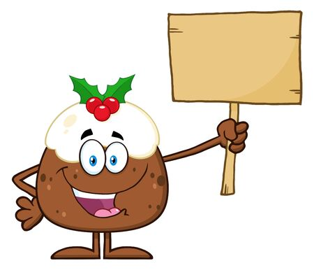 christmas pudding: Christmas Pudding Character Holding Up A Blank Wood Sign Stock Photo