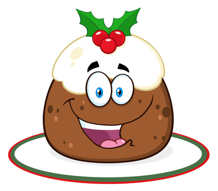 frosting: Happy Christmas Pudding Character With Frosting And Holly