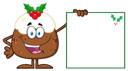 Jolly Christmas Pudding Character Presenting A Blank Sign With A Holly Corner Stock Photo