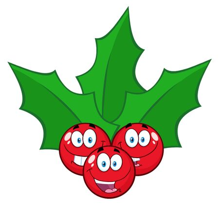 berries fruit: Christmas Holly Berries With Leaves Cartoon Characters