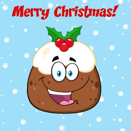 Happy Christmas Pudding Character. Illustration Greeting Card With Text