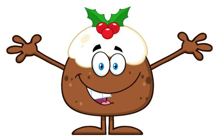 christmas pudding: Smiling Christmas Pudding Character With Open Arms For Greeting