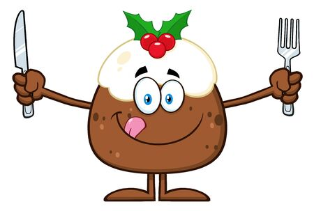 licking: Christmas Pudding Character Licking His Lips And Holding Silverware Stock Photo