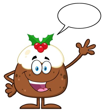 christmas pudding: Happy Christmas Pudding Character Waving With Speech Bubble