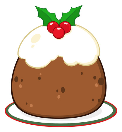 topped: Holly Topped Christmas Pudding On A Plate. Illustration Isolated On White