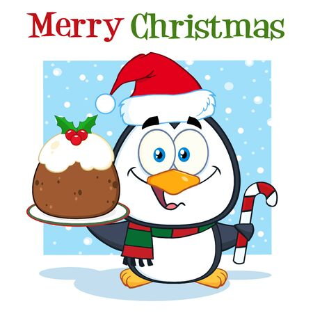 christmas pudding: Cute Penguin Character Holding Christmas Pudding And Candy Cane On The Snow