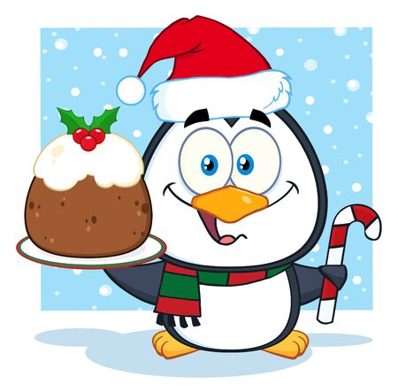 christmas pudding: Cute Penguin Cartoon Character Holding Christmas Pudding Stock Photo