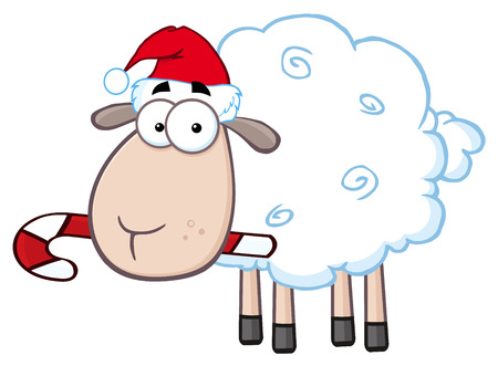 Christmas Sheep Cartoon Character. Illustration Isolated On White