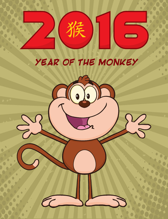 open arms: Cute Monkey Cartoon Character With Open Arms Illustration New Year Vintage Greeting Card