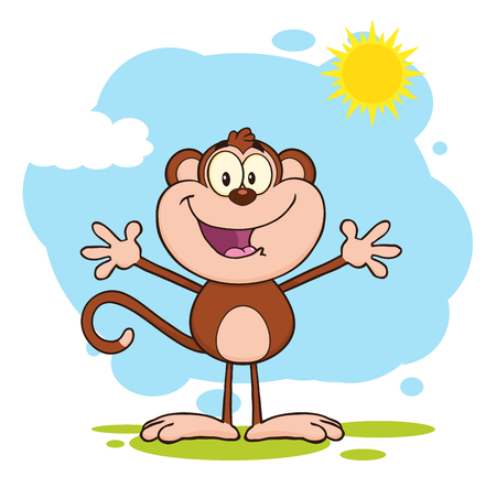 asian cartoon: Happy Welcoming Monkey Cartoon Character Standing Upright With Open Arms In The Sun