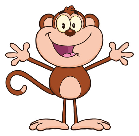 arms open: Happy Monkey Cartoon Character With Open Arms Stock Photo