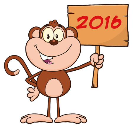 cartoon numbers: Monkey Cartoon Character Holding Up A Wood Sign With Numbers