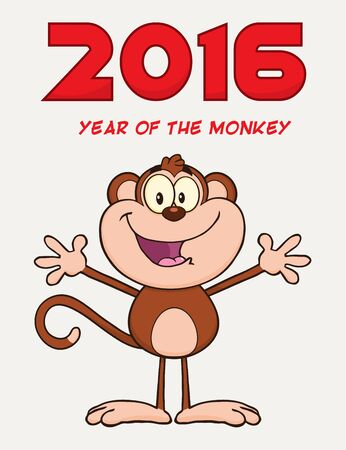 cute cartoon: Cute Monkey Cartoon Character With Open Arms. Illustration New Year Greeting Card