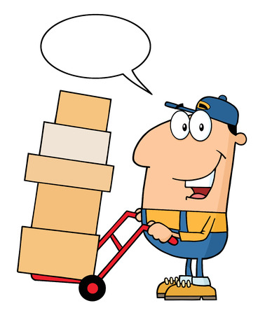 dolly: Delivery Man Cartoon Character Using A Dolly To Move Boxes With Speech Bubble