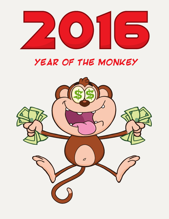cartoon money: Greedy Monkey Character Jumping With Cash Money and Dollar Eyes