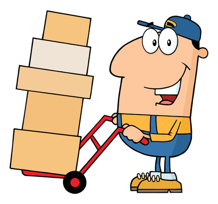 dolly: Delivery Man Cartoon Character Using A Dolly To Move Boxes