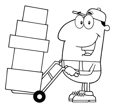 dolly: Black And White Delivery Man Character Using A Dolly To Move Boxes
