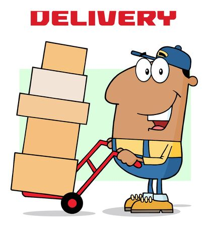 dolly: African American Delivery Man Cartoon Character Using A Dolly To Move Boxes