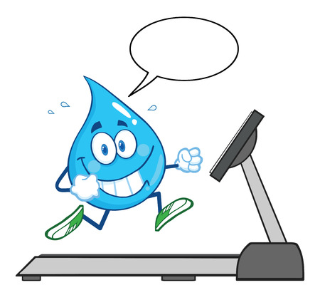 rain cartoon: Healthy Water Drop Cartoon Character Running On A Treadmill With Speech Bubble