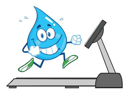 Healthy Water Drop Cartoon Character Running On A Treadmill