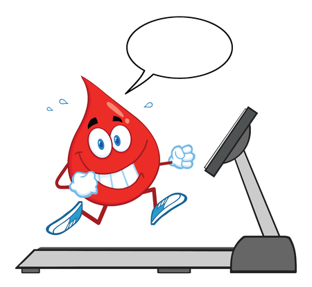 treadmill: Healthy Blood Drop Cartoon Character Running On A Treadmill With Speech Bubble