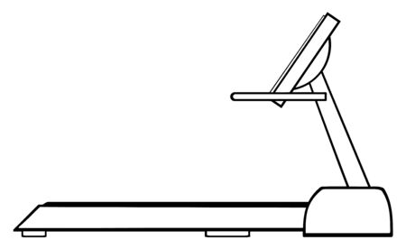 exercise weight: Black And White Cartoon Illustration Of Empty Treadmill