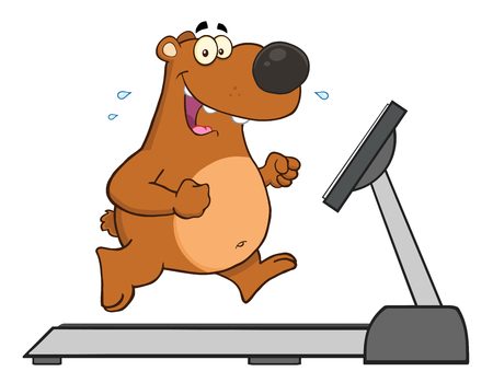 sweat: Smiling Brown Bear Cartoon Character Running On A Treadmill