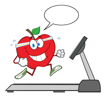 apple character: Healthy Red Apple Character Running On A Treadmill With Speech Bubble