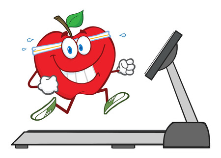 heart monitor: Healthy Red Apple Cartoon Character Running On A Treadmill