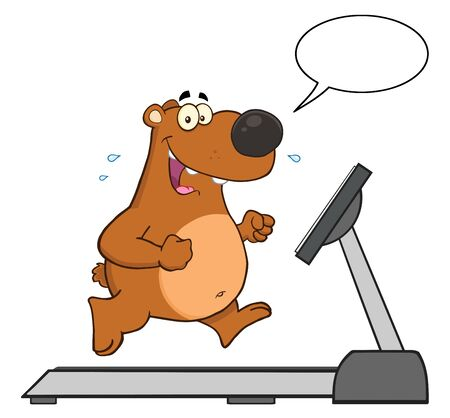speach: Smiling Brown Bear Character Running On A Treadmill With Speech Bubble