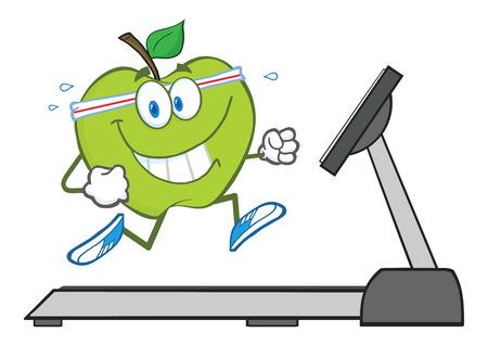 fruit cartoon: Healthy Green Apple Character Running On A Treadmill