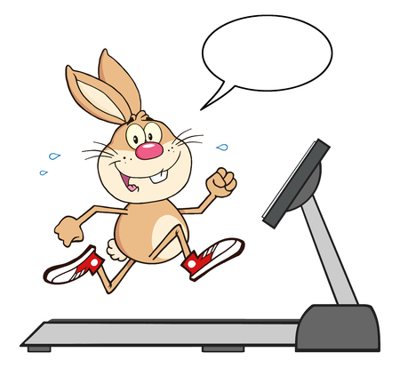 Smiling Rabbit Character Running On A Treadmill With Speech Bubble