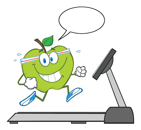 run: Healthy Green Apple Character Running On A Treadmill With Speech Bubble