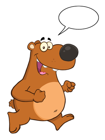 cartoon bubble: Smiling Brown Bear Character Running With Speech Bubble Stock Photo