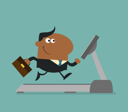 cartoon human: African American Businessman Character With Briefcase Running On A Treadmill