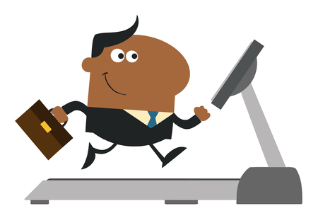 african cartoon: African American Businessman Character With Briefcase Running On A Treadmill. Modern Flat Design